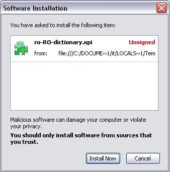 Instalare corector ortografic în Firefox