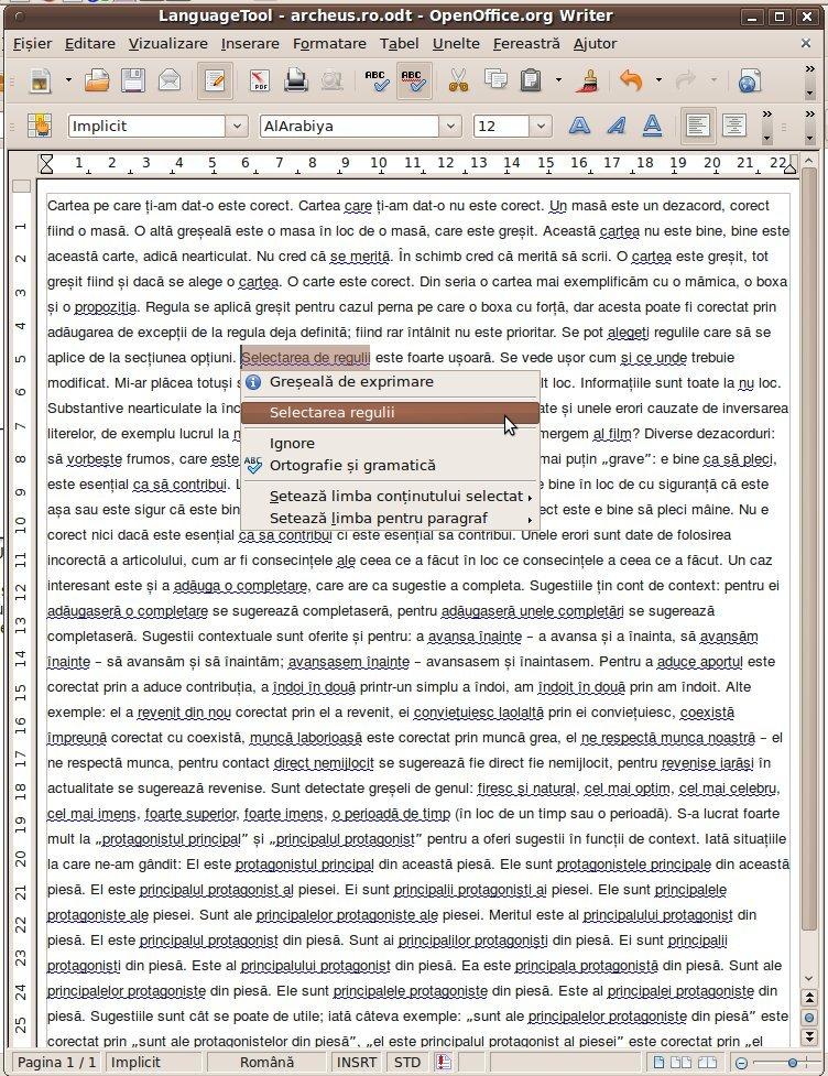 Exemplificare LanguageTool limba romana