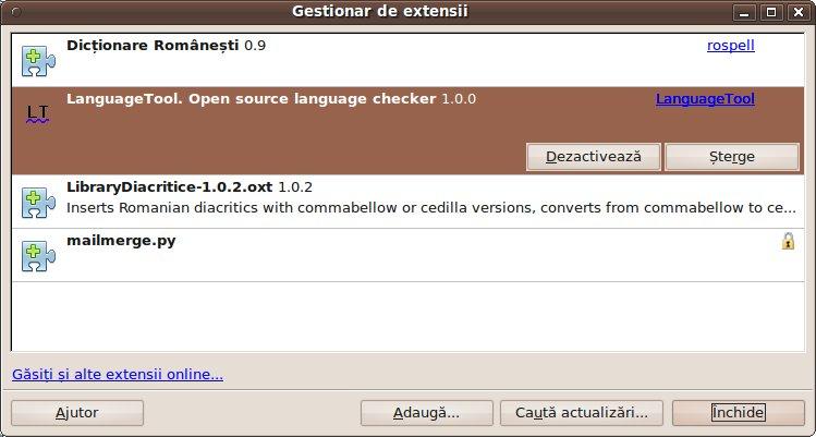 OpenOffice Gestionar de extensii instalare LanguageTool