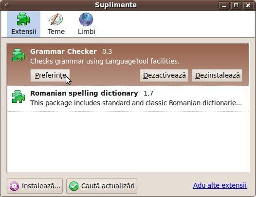 Thunderbird instalare Corector gramatical