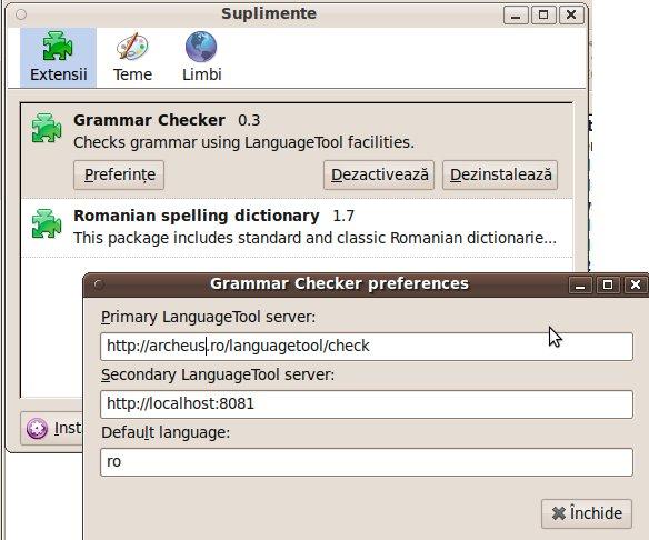 thunderbird setari corector gramatical
